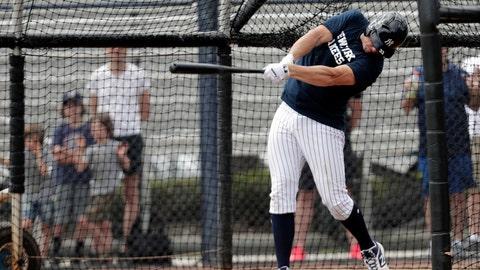 <p>               New York Yankees' Greg Bird bats at the Yankees spring training baseball facility, Thursday, Feb. 21, 2019, in Tampa, Fla. (AP Photo/Lynne Sladky)             </p>