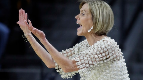 <p>               Connecticut associate head coach Chris Dailey gestures during the first half of the team's NCAA college basketball game against Wichita State in Wichita, Kan., Tuesday, Feb. 26, 2019. UConn coach Geno Auriemma missed the game. (AP Photo/Orlin Wagner)             </p>