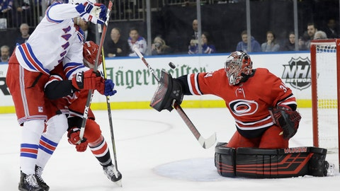 <p>               Carolina Hurricanes goaltender Petr Mrazek (34) deflects a shot on the goal in front of New York Rangers' Pavel Buchnevich during the second period of an NHL hockey game Friday, Feb. 8, 2019, in New York. (AP Photo/Frank Franklin II)             </p>