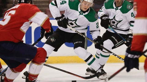 <p>               Dallas Stars left wing Roope Hintz (24) skates to the puck during the first period of an NHL hockey game against the Florida Panthers, Tuesday, Feb. 12, 2019, in Sunrise, Fla. (AP Photo/Brynn Anderson)             </p>