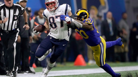 <p>               New England Patriots' Rob Gronkowski (87) runs from Los Angeles Rams' Samson Ebukam (50) after catching a pass during the second half of the NFL Super Bowl 53 football game Sunday, Feb. 3, 2019, in Atlanta. (AP Photo/John Bazemore)             </p>