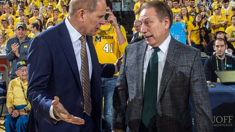 <p>               Michigan head coach John Beilein, left, talks with Michigan State head coach Tom Izzo, right, before an NCAA college basketball game at Crisler Center in Ann Arbor, Mich., Sunday, Feb. 24, 2019. (AP Photo/Tony Ding)             </p>