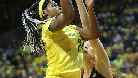 <p>               Oregon's Ruthy Hebard, left, shoots over Oregon State's Patricia Morris during the second quarter of an NCAA college basketball game Friday, Feb. 15, 2019, in Eugene, Ore. (AP Photo/Chris Pietsch)             </p>