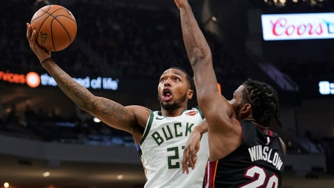 """<p>               File-This Jan. 15, 2019, file photo shows Milwaukee Bucks' Sterling Brown driving past Miami Heat's Justise Winslow during the second half of an NBA basketball game in Milwaukee. Nearly a year after police fatally shot an unarmed black man in Sacramento and a series of protests ensued in California's capital, the Kings and Milwaukee Bucks collaborated on a daylong summit Wednesday, Feb. 27, 2019, to address social injustice and encourage engagement and thoughtful discussions to try to bring about change. """"Whenever the team can do something as big as this for the community, it's important,"""" Brown said after the Bucks' morning shoot-around. (AP Photo/Morry Gash, File)             </p>"""