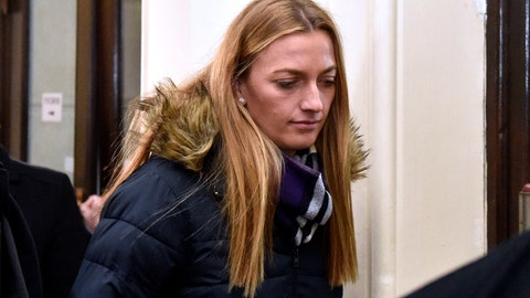 <p>               Czech tennis player Petra Kvitova leaves the Regional Court in Brno after giving a testimony during a trial with a man who is suspected of attacking her on Tuesday, Feb. 5, 2019. The burglar wounded Kvitova's hand with a knife and robbed her in her flat in Prostejov, 230 kilometres (143 miles) South East od Prague, in December 2016. (Vaclav Salek/CTK via AP) ** SLOVAKIA OUT **             </p>
