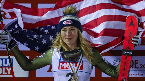<p>               United States' Mikaela Shiffrin celebrates after winning the bronze medal in the women's giant slalom, at the alpine ski World Championships in Are, Sweden, Thursday, Feb. 14, 2019. (AP Photo/Marco Trovati)             </p>