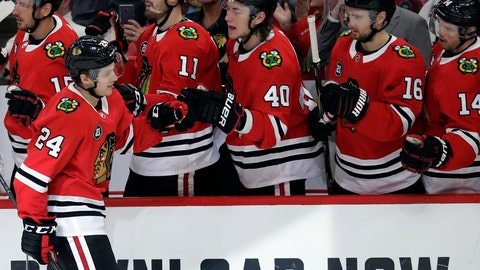 <p>               Chicago Blackhawks center Dominik Kahun (24) celebrates with teammates after scoring a goal during the first period of an NHL hockey game against the Detroit Red Wings, Sunday, Feb. 10, 2019, in Chicago. (AP Photo/Nam Y. Huh)             </p>