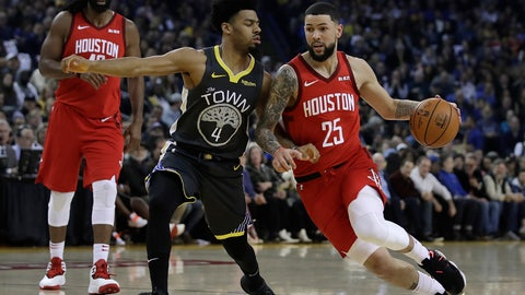 <p>               Houston Rockets' Austin Rivers, right, drives the ball against Golden State Warriors' Quinn Cook, left, during the first half of an NBA basketball game Saturday, Feb. 23, 2019, in Oakland, Calif. (AP Photo/Ben Margot)             </p>