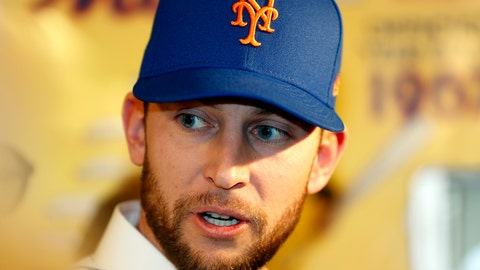 <p>               FILE - In this Jan. 16, 2019, file photo,  New York Mets infielder Jed Lowrie speaks to the media at CitiField following a baseball press conference in New York. The Mets said infielder Jed Lowrie will have an MRI of his left knee, which gave him problems after running last weekend.  He will go for a scan on Thursday, Feb. 21, 2019. (AP Photo/Kathy Willens, File)             </p>