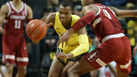 <p>               Oregon's Louis King, center, is fouled by Stanford's KZ Okpala, right, as Stanford's Jaiden Delaire looks on, left, during the first half of an NCAA college basketball game Sunday, Feb. 10, 2019, in Eugene, Ore. (AP Photo/Chris Pietsch)             </p>