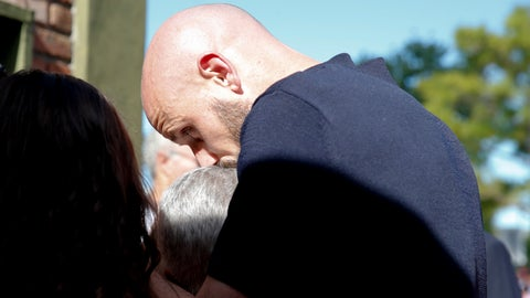 <p>               Mercedes Taffarel, mother of Argentine soccer player Emiliano Sala, right, is comfort by Nantes defender Nicolas Pallois during de burial of Emiliano Sala, at the cemetery in Santa Fe, Argentina, Saturday, Feb. 16, 2019. The Argentina-born forward died in an airplane crash in the English Channel last month when flying from Nantes in France to start his new career with English Premier League club Cardiff. (AP Photo/Natacha Pisarenko)             </p>