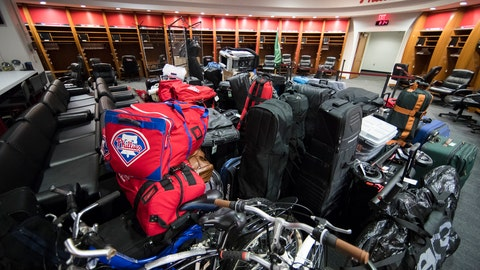 <p>               Philadelphia Phillies' baseball equipment and personal belongings destined for spring training in Clearwater, Fla., are staged to be loaded onto a truck, Friday, Feb. 8, 2019, in Philadelphia. (AP Photo/Matt Rourke)             </p>