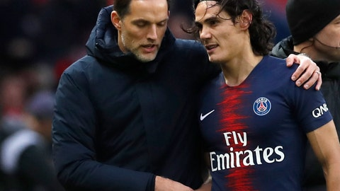 <p>               SG coach Thomas Tuchel, left, speaks with PSG's Edinson Cavani as he leaves the pitch during the French League One soccer match between Paris Saint-Germain and Bordeaux at the Parc des Princes stadium in Paris, Saturday, Feb. 9, 2019. (AP Photo/Christophe Ena)             </p>