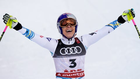 <p>               United States' Lindsey Vonn smiles in the finish area after the women's downhill race, at the alpine ski World Championships in Are, Sweden, Sunday, Feb. 10, 2019. (AP Photo/Giovanni Auletta)             </p>