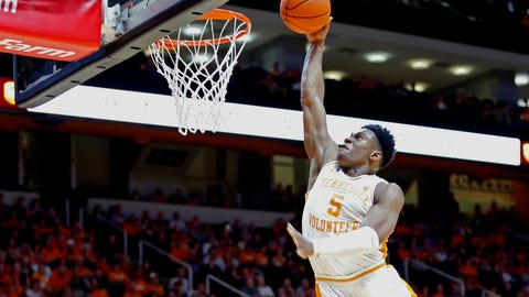 <p>               Tennessee guard Admiral Schofield (5) dunks the ball during the second half of an NCAA college basketball game against Missouri Tuesday, Feb. 5, 2019, in Knoxville, Tenn. Tennessee won 72-60. (AP photo/Wade Payne)             </p>