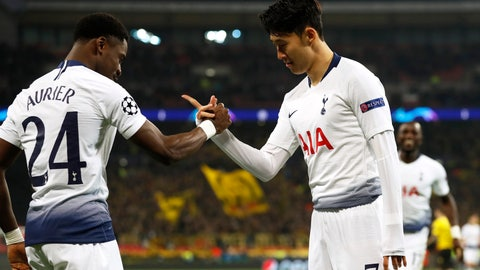 <p>               Tottenham midfielder Son Heung-min celebrates with defender Serge Aurier, left, after scoring the opening goal during the Champions League round of 16, first leg, soccer match between Tottenham Hotspur and Borussia Dortmund at Wembley stadium in London, Wednesday, Feb. 13, 2019. (AP Photo/Alastair Grant)             </p>