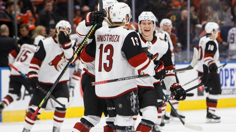 <p>               Arizona Coyotes celebrate a shootout win against the Edmonton Oilers during an NHL hockey game Tuesday, Feb. 19, 2019, in Edmonton, Alberta. (Jason Franson/The Canadian Press via AP)             </p>