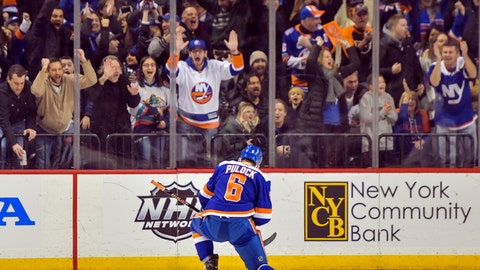 <p>               New York Islanders defenseman Ryan Pulock (6) celebrates after scoring in the third period of an NHL hockey game against the Colorado Avalanche Saturday, Feb. 9, 2019, in New York. (AP Photo/Howard Simmons)             </p>