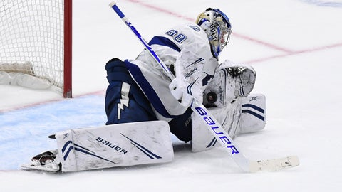 <p>               Tampa Bay Lightning goaltender Andrei Vasilevskiy makes a save in overtime against the New York Islanders during an NHL hockey game Friday, Feb. 1, 2019, in Uniondale, N.Y. The Lightning won in a shootout 1-0. (AP Photo/Kathleen Malone-Van Dyke)             </p>