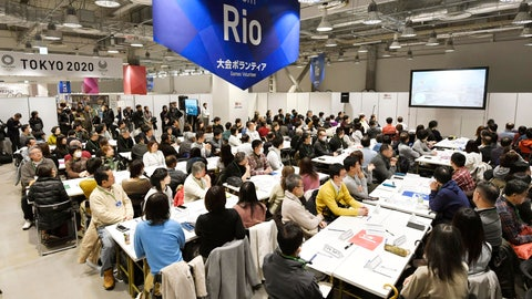 <p>               In this Feb. 9, 2019, photo, invitees listen during an orientation for volunteers for the Tokyo 2020 Olympics and Paralympics in Tokyo. Unpaid Olympic volunteers do almost everything: guide athletes around, greet dignitaries, and translate for lost fans. IOC officials acknowledge the games couldn't be held without them; invariably smiling, helpful and praised by presidents, prime ministers, and monarchs. That's the case at next year's Tokyo Olympics and Paralympics where about 80,000 will be needed. Just over 200,000 have applied with orientation and interviews for Japan residents starting this month. (Mizuki Ikari/Kyodo News via AP)             </p>