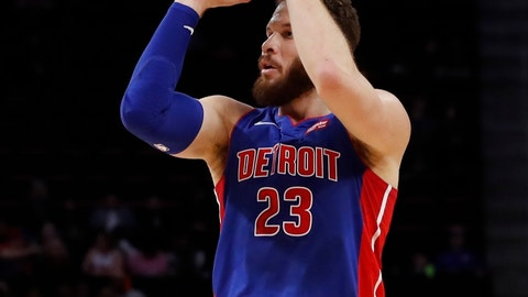<p>               Detroit Pistons forward Blake Griffin shoots during the first half of an NBA basketball game against the Washington Wizards, Monday, Feb. 11, 2019, in Detroit. (AP Photo/Carlos Osorio)             </p>