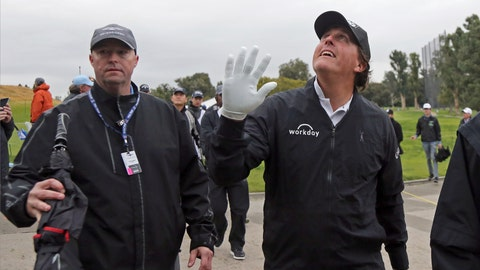 <p>               Phil Mickelson waves to someone who shouted a greeting from the grandstand during the pro-am round of the Genesis Open golf tournament at Riviera Country Club in the Pacific Palisades area of Los Angeles, Wednesday, Feb. 13, 2019. (AP Photo/Reed Saxon)             </p>