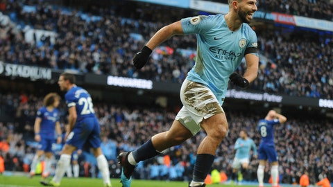 <p>               Manchester City's Sergio Aguero celebrates after scoring his side's third goal during the English Premier League soccer match between Manchester City and Chelsea at Etihad stadium in Manchester, England, Sunday, Feb. 10, 2019. (AP Photo/Rui Vieira)             </p>