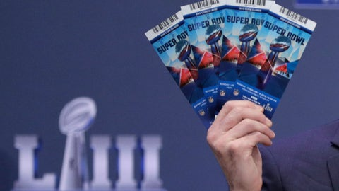 <p>               Michael, Buchwald, NFL Senior Counsel, Legal, holds up Super Bowl 53 tickets as he explains the security features on the tickets during a news conference for the NFL Super Bowl 53 football game Thursday, Jan. 31, 2019, in Atlanta. (AP Photo/David J. Phillip)             </p>