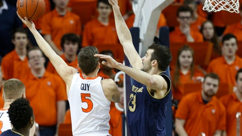 <p>               Virginia guard Kyle Guy (5) goes up for a shot as Notre Dame forward John Mooney (33) defends during the first half of an NCAA college basketball game in Charlottesville, Va., Saturday, Feb. 16, 2019. (AP Photo/Steve Helber)             </p>