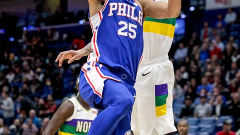 <p>               Philadelphia 76ers guard Ben Simmons (25) shoots against New Orleans Pelicans forward Anthony Davis (23) in the first half of an NBA basketball game in New Orleans, Monday, Feb. 25, 2019. (AP Photo/Scott Threlkeld)             </p>
