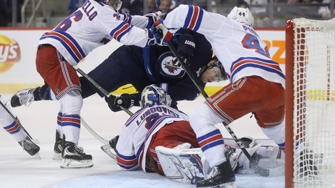 <p>               Winnipeg Jets center Adam Lowry (17) is hit by New York Rangers right wing Mats Zuccarello (36) after trying to score on goaltender Henrik Lundqvist (30), as defenseman Neal Pionk (44) defends the crease during the second period of an NHL hockey game Tuesday, Feb. 12, 2019, in Winnipeg, Manitoba. (Trevor Hagan/The Canadian Press via AP)             </p>