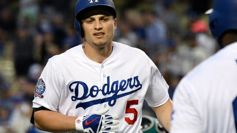 <p>               FILE - In this April 10, 2018, file photo, Los Angeles Dodgers' Corey Seager, left, reacts during a baseball game against the Oakland Athletics in Los Angeles. (AP Photo/Michael Owen Baker, File)             </p>