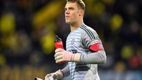 <p>               FILE - In this Saturday, Nov. 10, 2018 file photo Bayern goalkeeper Manuel Neuer leaves the pitch during the German Bundesliga soccer match against Borussia Dortmund in Dortmund, Germany. Bayern Munich captain Manuel Neuer has been ruled out of the side's Bundesliga game at Bayer Leverkusen tomorrow. The six-time defending champion says its 32-year-old goalkeeper injured his right hand in training on Friday and is remaining in Munich rather than traveling with the rest of the squad. (AP Photo/Martin Meissner)             </p>