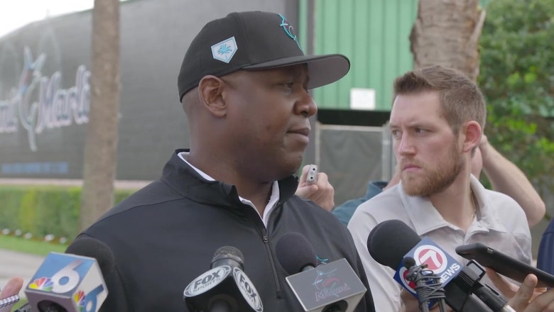 Mike Hill likes Marlins' mix of youth, experience at camp