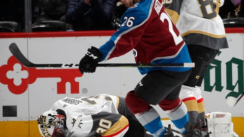 <p>               Colorado Avalanche left wing Andrew Agozzino, front, reacts after scoring a goal as Vegas Golden Knights goaltender Malcolm Subban reacts in the second period of an NHL hockey game Monday, Feb. 18, 2019, in Denver. (AP Photo/David Zalubowski)             </p>