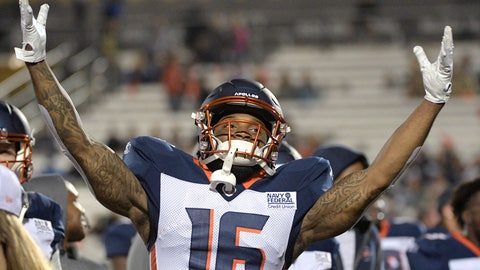 <p>               Orlando Apollos receiver Rannell Hall encourages the fans in the stands before the team's Alliance of American Football game against the Atlanta Legends on Saturday, Feb. 9, 2019, in Orlando, Fla. (AP Photo/Phelan M. Ebenhack)             </p>