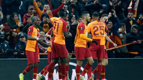<p>               Galatasaray players celebrated a goal against Benfica during the Europa League round of 32 soccer match between Galatasaray and Benfica, in Istanbul, Thursday, Feb. 14, 2019. (AP Photo/Lefteris Pitarakis)             </p>