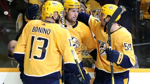 <p>               Nashville Predators' Filip Forsberg, center, of Sweden, is congratulated by Nick Bonino (13) and Roman Josi (59), of Switzerland, after Forsberg scored against the Arizona Coyotes during the second period of an NHL hockey game Tuesday, Feb. 5, 2019, in Nashville, Tenn. (AP Photo/Mark Humphrey)             </p>
