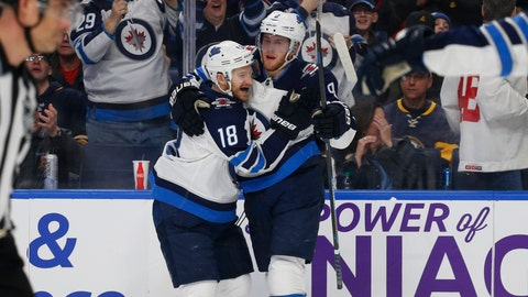 <p>               Winnipeg Jets Bryan Little (18) and Andrew Copp (9) celebrate a goal during the second period of an NHL hockey game against the Buffalo Sabres, Sunday, Feb. 10, 2019, in Buffalo N.Y. (AP Photo/Jeffrey T. Barnes)             </p>