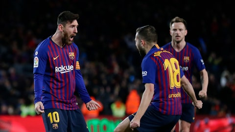 <p>               FC Barcelona's Lionel Messi celebrates after scoring during the Spanish La Liga soccer match between FC Barcelona and Valencia at the Camp Nou stadium in Barcelona, Spain, Saturday, Feb. 2, 2019. (AP Photo/Manu Fernandez)             </p>