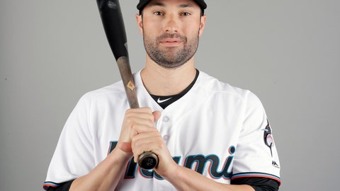 <p>               Neil Walker of the Miami Marlins baseball team poses Wednesday, Feb. 20, 2019, in Jupiter, Fla. While Manny Machado agreed to a pending $300 million, 10-year contract with San Diego and Bryce Harper is likely to top Giancarlo Stanton's record $325 million, 13-year deal, many less-than-superstar veterans have been routed on the free-agent market. Walker's salary dropped from $17.2 million to $2 million in two years. (AP Photo/Jeff Roberson)             </p>