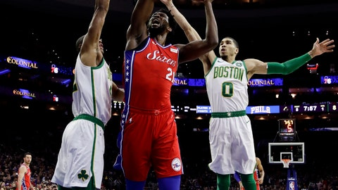 <p>               Philadelphia 76ers' Joel Embiid, center, goes up for a shot between Boston Celtics' Al Horford, left, and Jayson Tatum during the first half of an NBA basketball game, Tuesday, Feb. 12, 2019, in Philadelphia. (AP Photo/Matt Slocum)             </p>