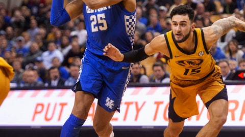 <p>               Kentucky's PJ Washington, left, drives toward the basket past Missouri's Jordan Geist during the first half of an NCAA college basketball game Tuesday, Feb. 19, 2019, in Columbia, Mo. Kentucky won 66-58. (AP Photo/L.G. Patterson)             </p>