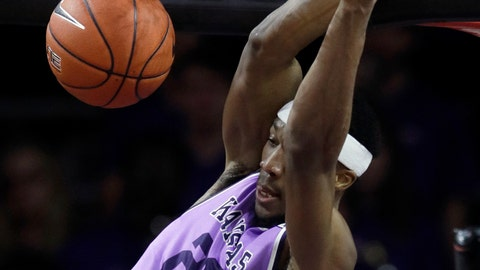<p>               Kansas State forward Xavier Sneed dunks during the first half of an NCAA college basketball game against Oklahoma State in Manhattan, Kan., Saturday, Feb. 23, 2019. (AP Photo/Orlin Wagner)             </p>