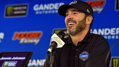 "<p>               FILE - In this July 28, 2018, file photo, Jimmie Johnson smiles as he answers questions during a media availability for the NASCAR Cup Series auto race in Long Pond, Pa. Johnson by all measures is one of the politest athletes in sports. But his patience was tested during the worst season of his NASCAR career by criticism sent his way via social media. Unable to always tune it out, the seven-time NASCAR champion clapped back one day with a stern message: ""I'm far from done."" (AP Photo/Derik Hamilton, File)             </p>"