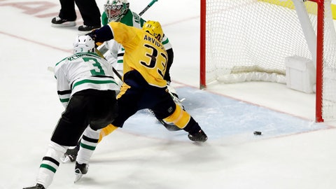 <p>               Nashville Predators left wing Viktor Arvidsson (33), of Sweden, scores a goal against Dallas Stars goaltender Anton Khudobin, of Kazakhstan, in the third period of an NHL hockey game Thursday, Feb. 7, 2019, in Nashville, Tenn. At left is Stars' defenseman John Klingberg (3), of Sweden. (AP Photo/Mark Humphrey)             </p>