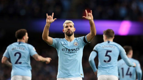 <p>               Manchester City's Sergio Aguero celebrates after scoring his side's fifth goal during the English Premier League soccer match between Manchester City and Chelsea at Etihad stadium in Manchester, England, Sunday, Feb. 10, 2019. (AP Photo/Jon Super)             </p>