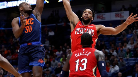 <p>               Oklahoma City Thunder guard Deonte Burton (30) shoots over New Orleans Pelicans center Jahlil Okafor, right rear, during the first half of an NBA basketball game in New Orleans, Thursday, Feb. 14, 2019. (AP Photo/Tyler Kaufman)             </p>