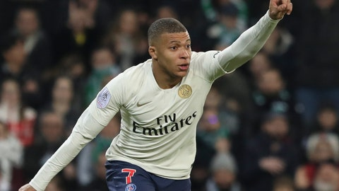<p>               PSG forward Kylian Mbappe celebrates after scoring the opening goal during the French League One soccer match between Saint-Etienne and Paris Saint-Germain, at the Geoffroy Guichard stadium, in Saint-Etienne, central France, Sunday, Feb. 17, 2019. (AP Photo/Laurent Cipriani)             </p>