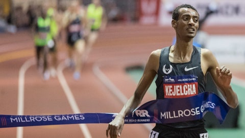 <p>               Yomif Kejelcha, of Ethiopia crosses the finish line in the men's Wanamaker Mile at the Millrose Games track and field meet, Saturday, Feb. 9, 2019, in New York. (AP Photo/Mary Altaffer)             </p>